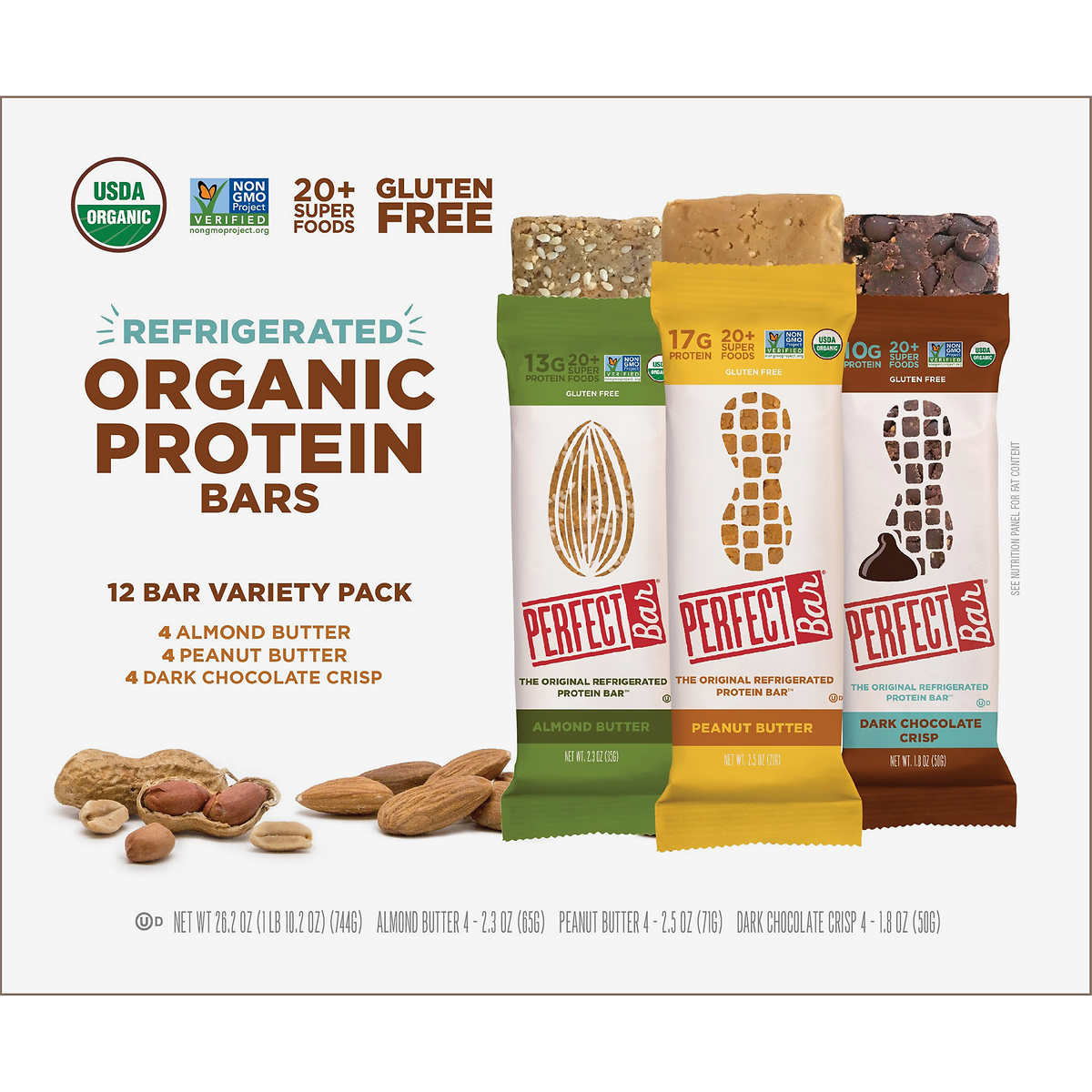 Perfect Bar Refrigerated Organic Protein Bar, Variety, 12 ct