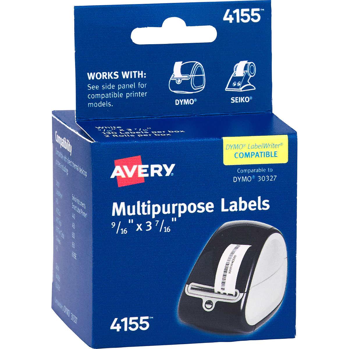 Avery Thermal Printer Labels, 1/3 Cut File Folder, White, 260 ct