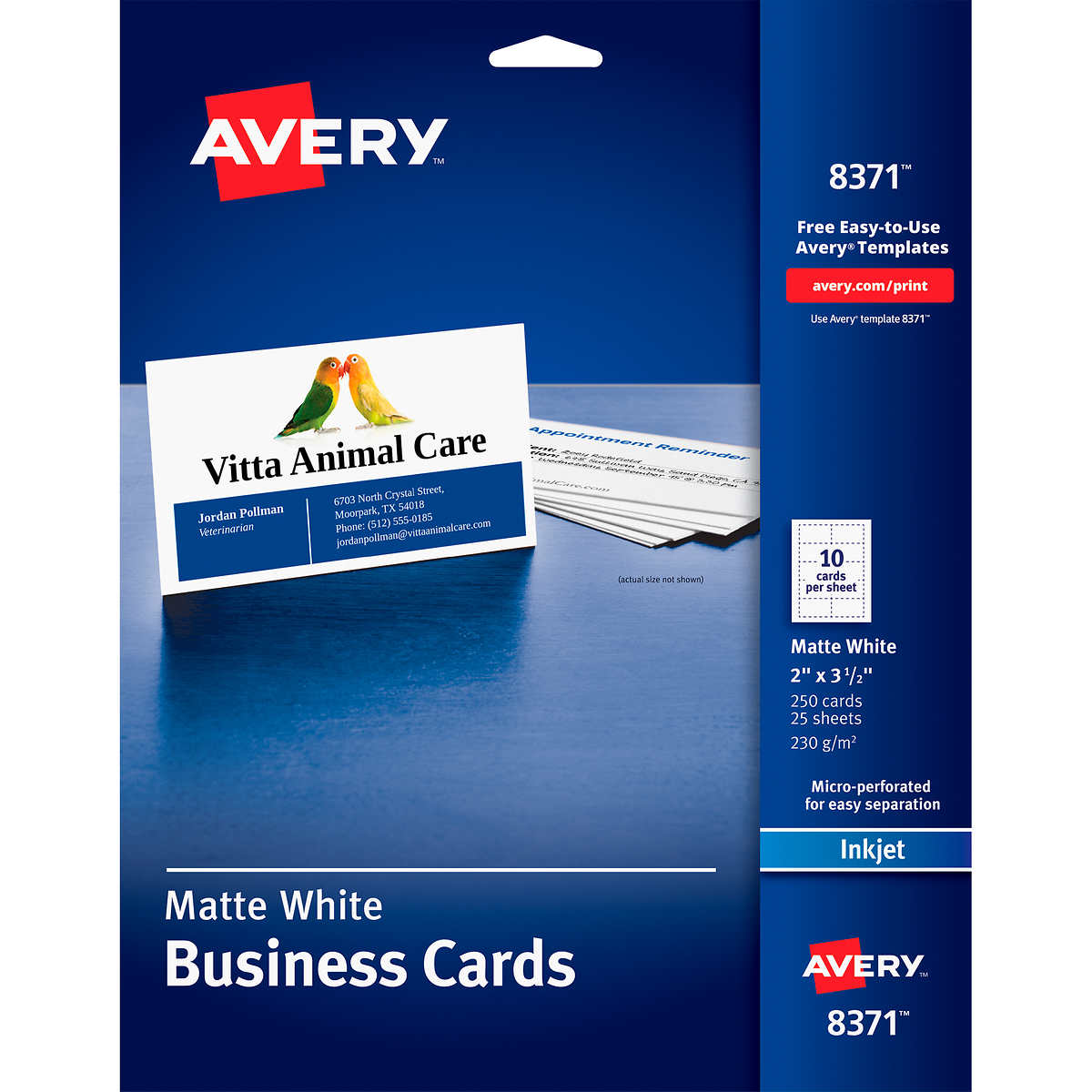 Avery Business Cards Matte White X Ct AVE - Business card template 8371