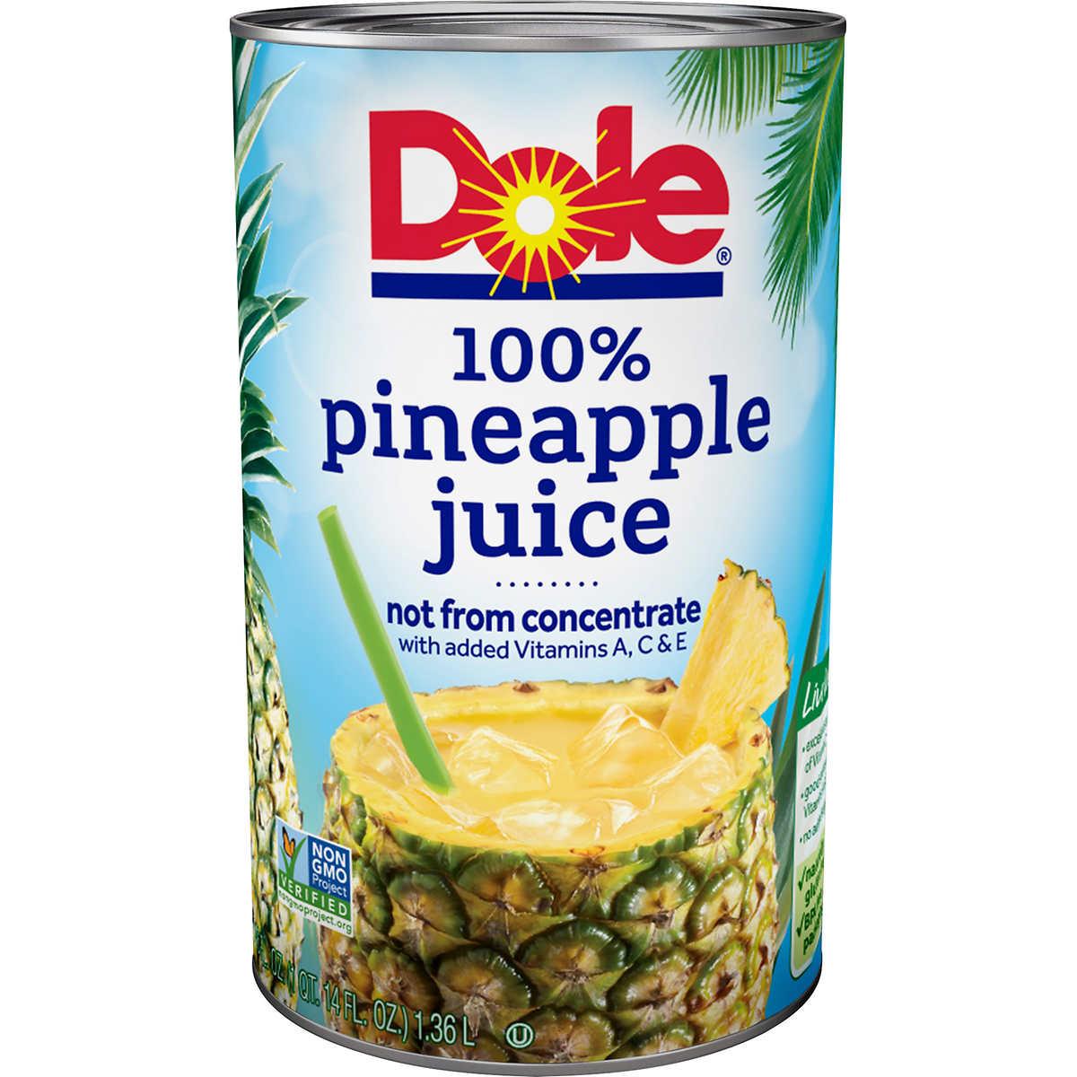 Dole 100% Pineapple Juice, 46 oz, 3 ct
