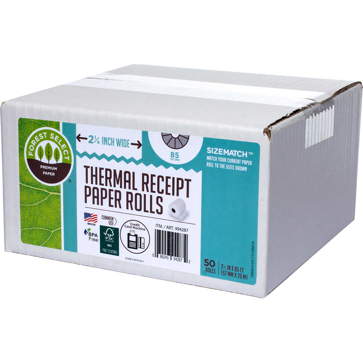 Forest Select Premium Thermal Receipt Paper Roll, White, 2-1
