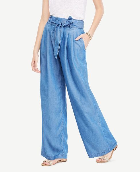 The Chambray Tie Waist Wide Leg Pant at Ann Taylor in Victor, NY | Tuggl