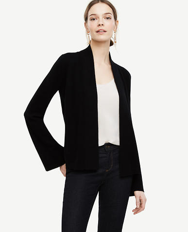 Image of Cashmere Bell Sleeve Open Cardigan color Black