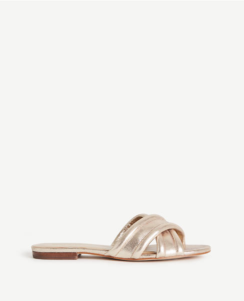 Primary Image of Gretel Metallic Leather Slides
