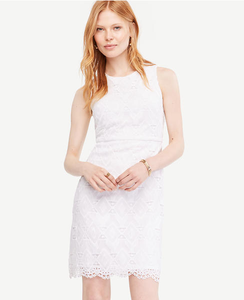 Geo Lace Sheath Dress | Ann Taylor
