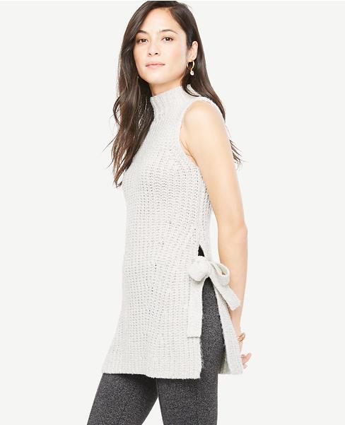 Sleeveless Side Tie Tunic Sweater | Ann Taylor