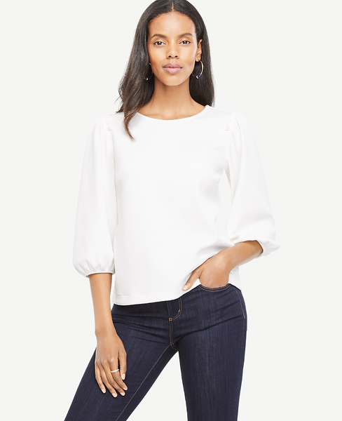 Puff Sleeve Knit Top at Ann Taylor in Charleston, SC | Tuggl