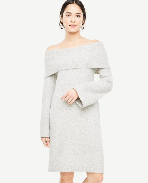 Off The Shoulder Bell Sleeve Sweater Dress | Ann Taylor