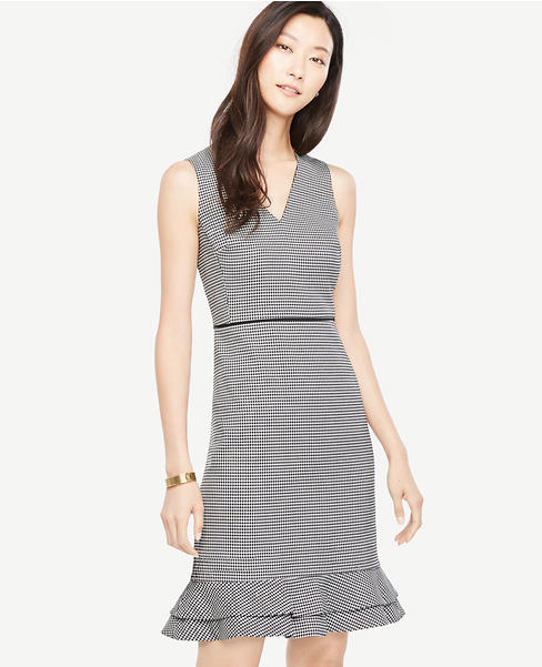 Primary Image of Houndstooth Flounce Sheath Dress