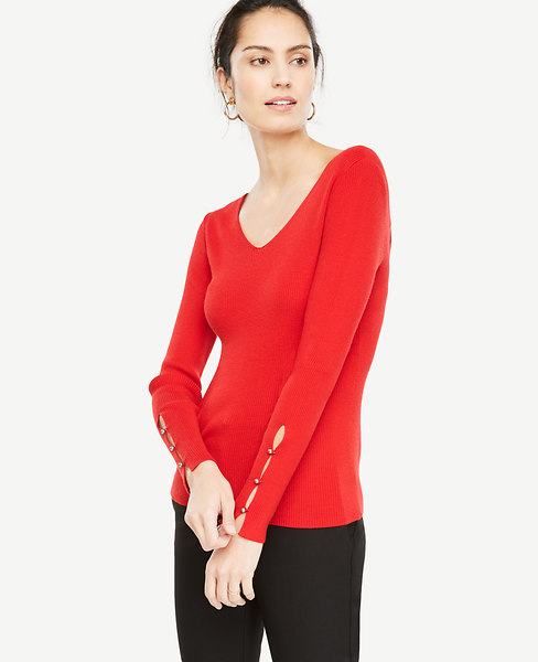 Pearlized Button Slit Cuff Sweater at Ann Taylor in 753 Eastvi Victor, NY | Tuggl