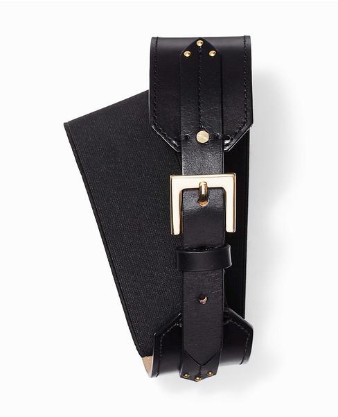 Wide Stretch Leather Tab Belt