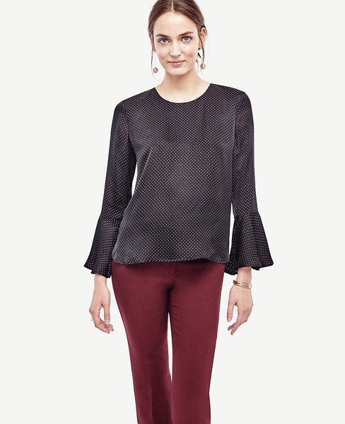Ann Taylor Pindot Fluted Blouse