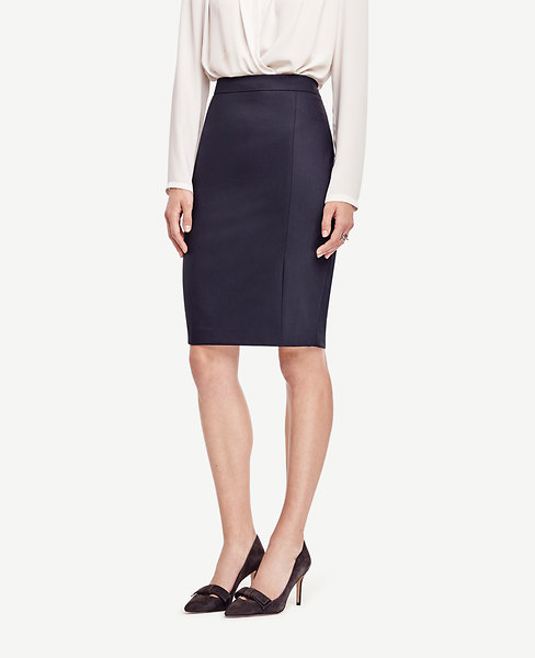 Tropical Wool Pencil Skirt