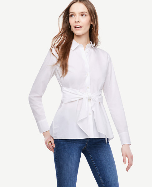 Cinch-Waist Poplin Top