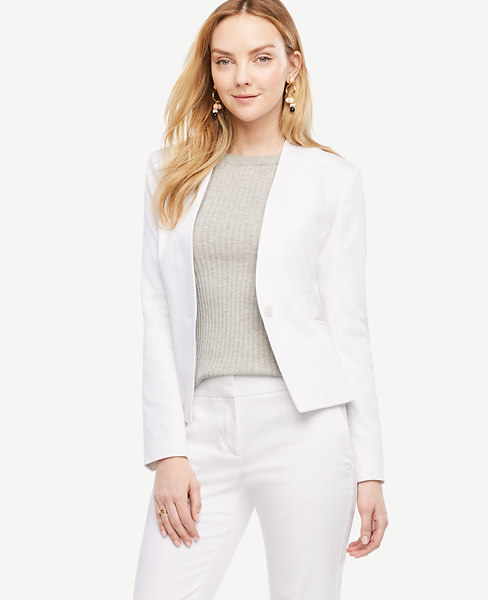 Cotton Sateen Collarless Jacket