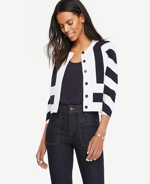 Mixed Stripe Sweater Jacket