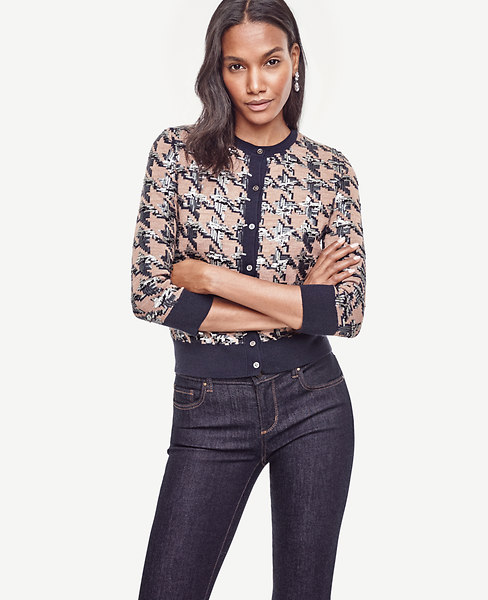 Sequin Houndstooth Cropped Ann Cardigan