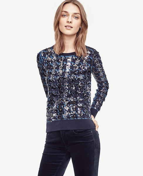 Ann Taylor Sequin Houndstooth Sweater