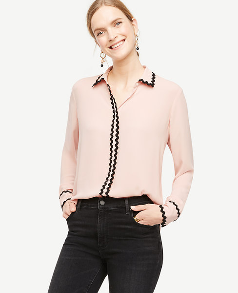 Scallop Trim Blouse