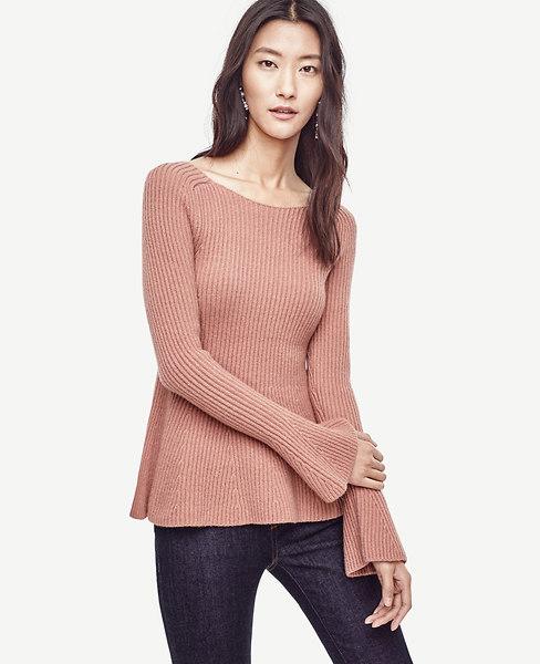 Ann Taylor Petite Bell Sleeve Peplum Sweater