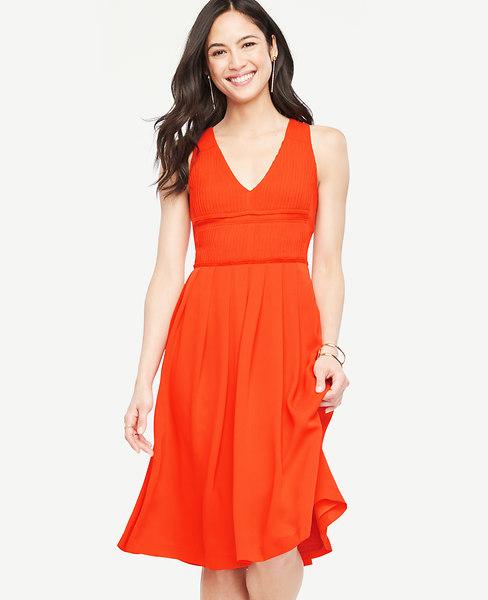 Pleated V-Neck Flare Dress