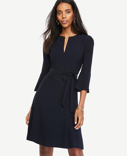 Belted Fluted Sleeve Dress