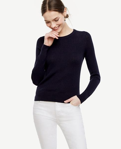 Stitched Silk Cotton Sweater