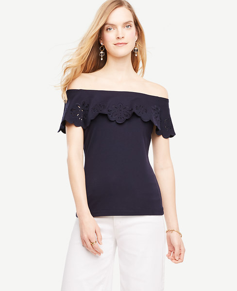 Embroidered Ruffle Off The Shoulder Top
