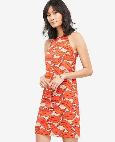 Leaf Swirl Halter Dress