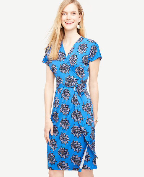 Vintage Leaf Short Dolman Sleeve Wrap Dress