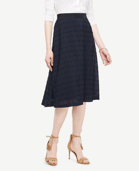 Textured Dot Midi Skirt