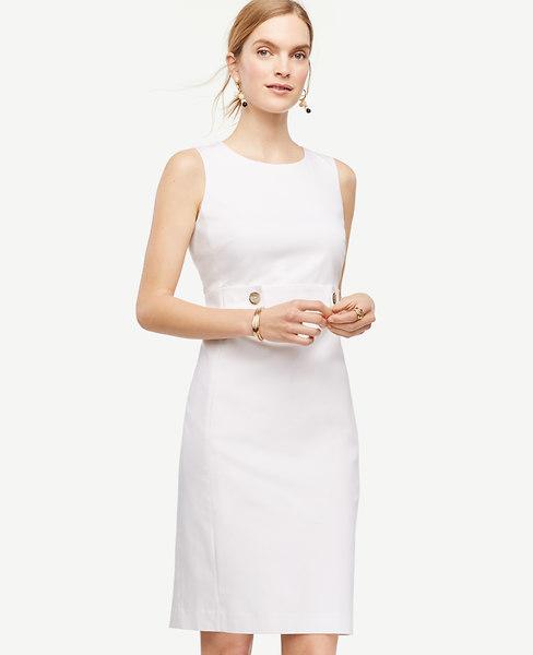 Cotton Sateen Button Tab Sheath Dress