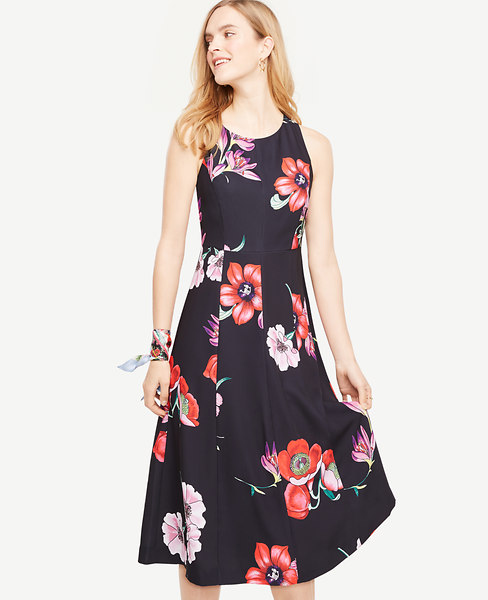 Ann Taylor Petite Bow Back Floral Midi Dress