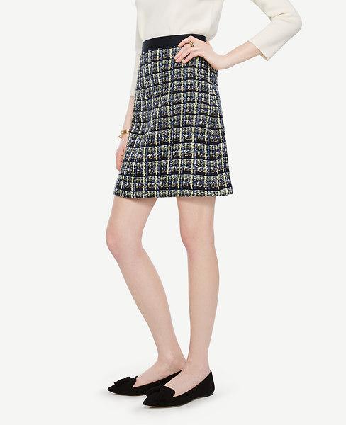 Ann Taylor Petite Plaid Tweed Skirt