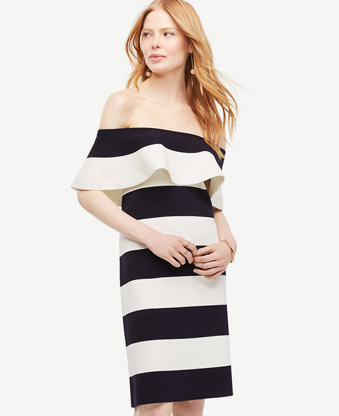 Stripe Off The Shoulder Sheath Sweater Dress