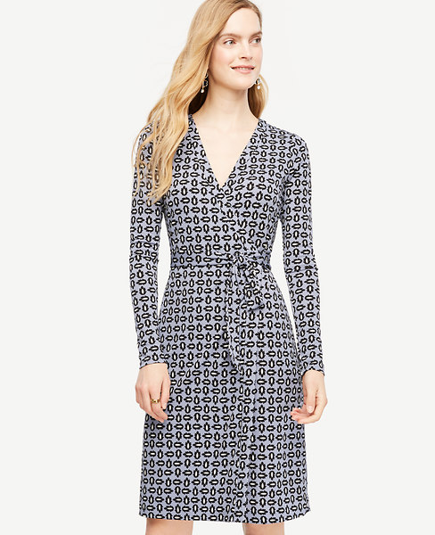 Ann Taylor Petite Tossed Leaf Wrap Dress