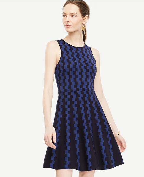 Ann Taylor Womens Geo Jacquard Flare Sweater Dress (Navy)