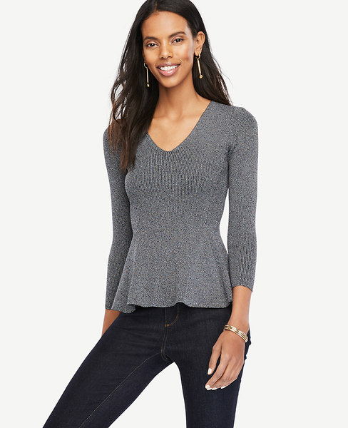 Ann Taylor Ribbed Peplum Sweater
