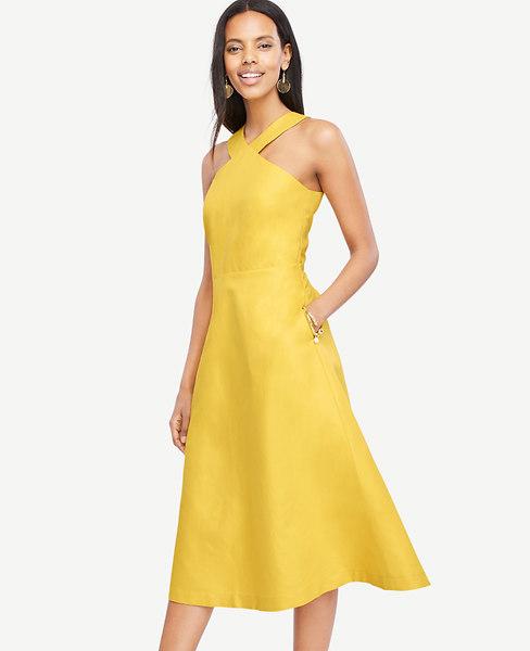 Ann Taylor Petite Halter Midi Dress