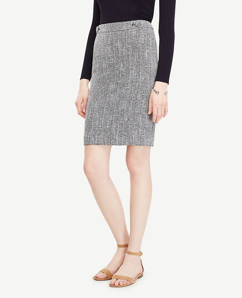 Ann Taylor Tweed Button Tab Skirt