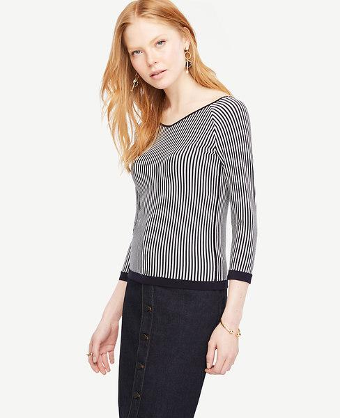Stripe Double V 3/4 Sleeve Sweater
