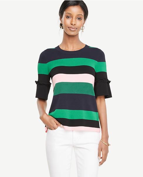 Striped Ruffle Cuff Sweater