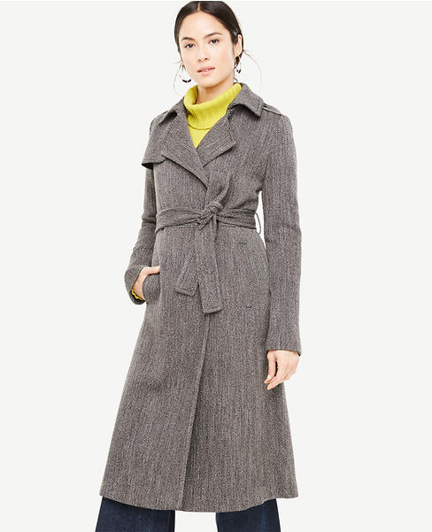 Long Twill Trench Coat