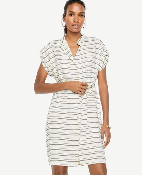 Stripe Short Sleeve Belted Shirtdress