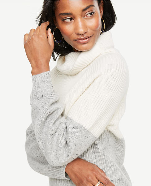 Cashmere Colorblock Ribbed Turtleneck Sweater | Ann Taylor