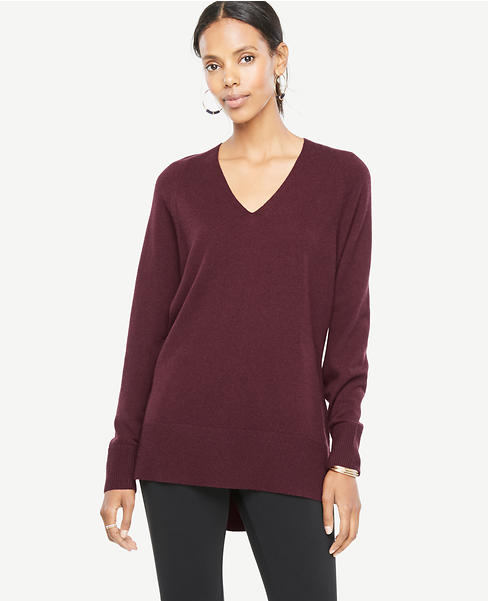 V-Neck Tunic Sweater | Ann Taylor