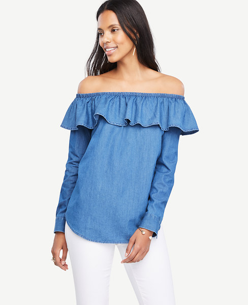 Ann Taylor Chambray Off The Shoulder Blouse