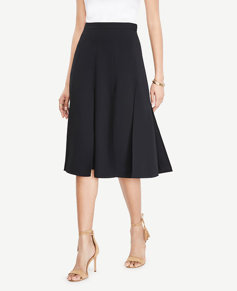 Cutout Pleated Full Skirt