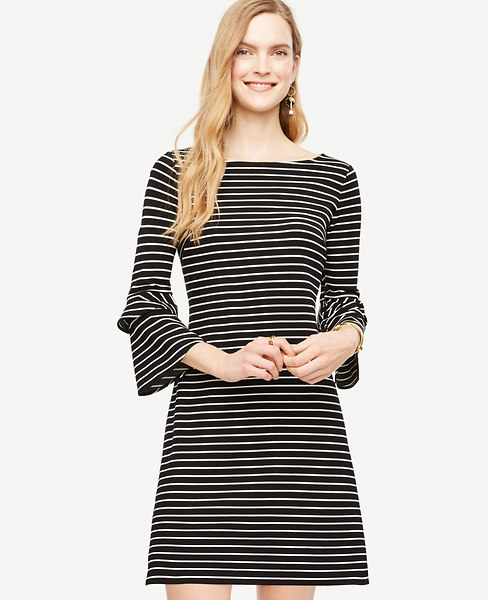 Ann Taylor Petite Striped Ponte Flare Sleeve Dress