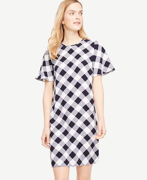 Gingham Ruffle Sleeve Shift Dress